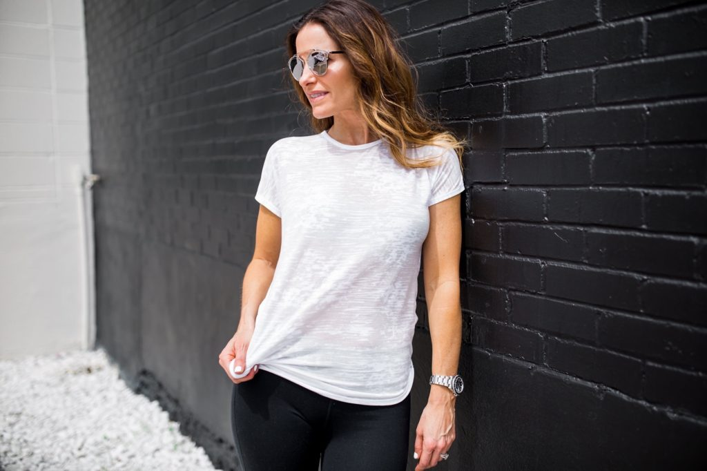 Staying Healthy During These Winter Months/Dallas Fashion Blogger/ Tiffany Davros/Nation Ltd Twist Back Tee/Free People Bra/Pamela Love Five Spike Earrings