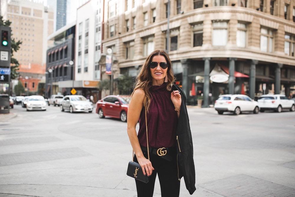 Valentine's or Galentine's Outfit Ideas For All/Dallas Fashion Blogger/ /Tiffany Davros//Lizzie Fortunato earrings///Nation Ltd Tank//Gucci double G belt//Christian Louboutin black heels//Rag & Bone Velvet Skinny Jean//