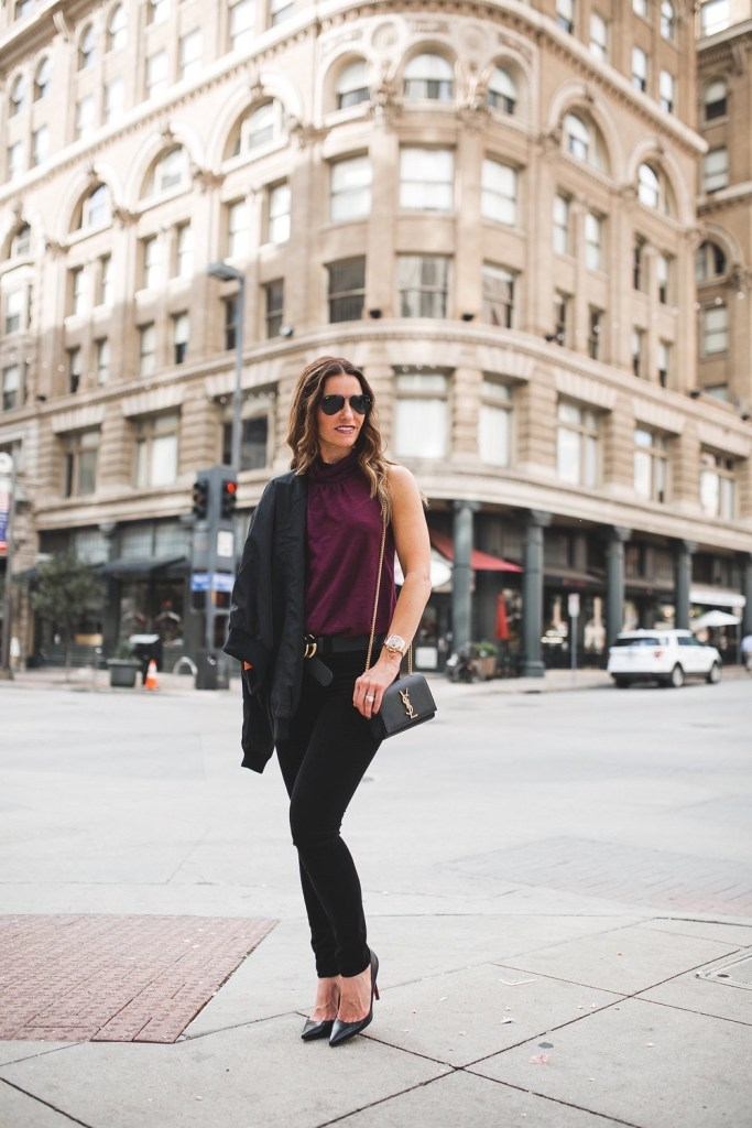 Valentine's or Galentine's Outfit Ideas For All///Dallas Style Blogger// Lizzie Fortunato///Nation Ltd Tee//Gucci Logo belt//Christian Louboutin//Rag & Bone Velvet Jean//