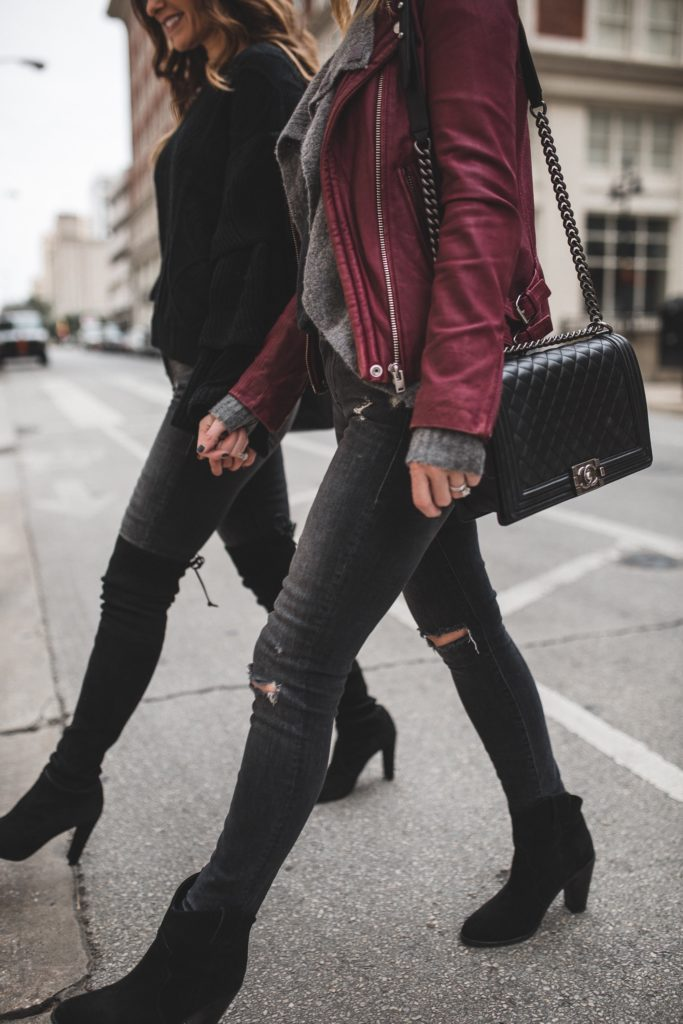 Mother Denim Two Ways With My Blogger Sister//Dallas Style Blogger/The Street Edit/Chicwish Black Cable Knit Sweater with Flare Sleeves/Mother Undone Hem Looker Ankle Jeans/Stuart Weitzman OTK black suede boots/Sanlo Jewelry and Accessories/Chanel bag