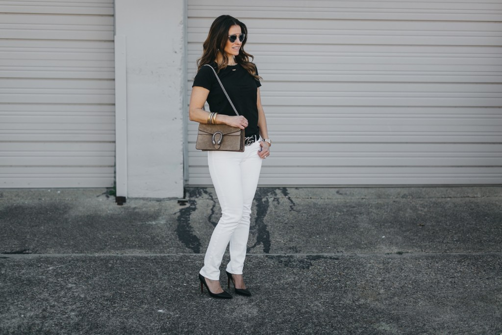 Black & White Transition + A Gucci Handbag Giveaway// Dallas Fashion Blogger/ /Tiffany Davros// Nation Ltd little boy torn tee// AG the Stilt Jean// Christian Louboutin Pump// Gucci logo belt// Dior so real brow bar sunglasses//