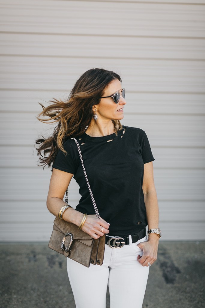 Black & White Transition + A Gucci Handbag Giveaway// Dallas Style Blogger// Nation ltd tee// AG Jean// Christian Louboutin Pump// Gucci belt// Dior so real brow bar sunglasses//
