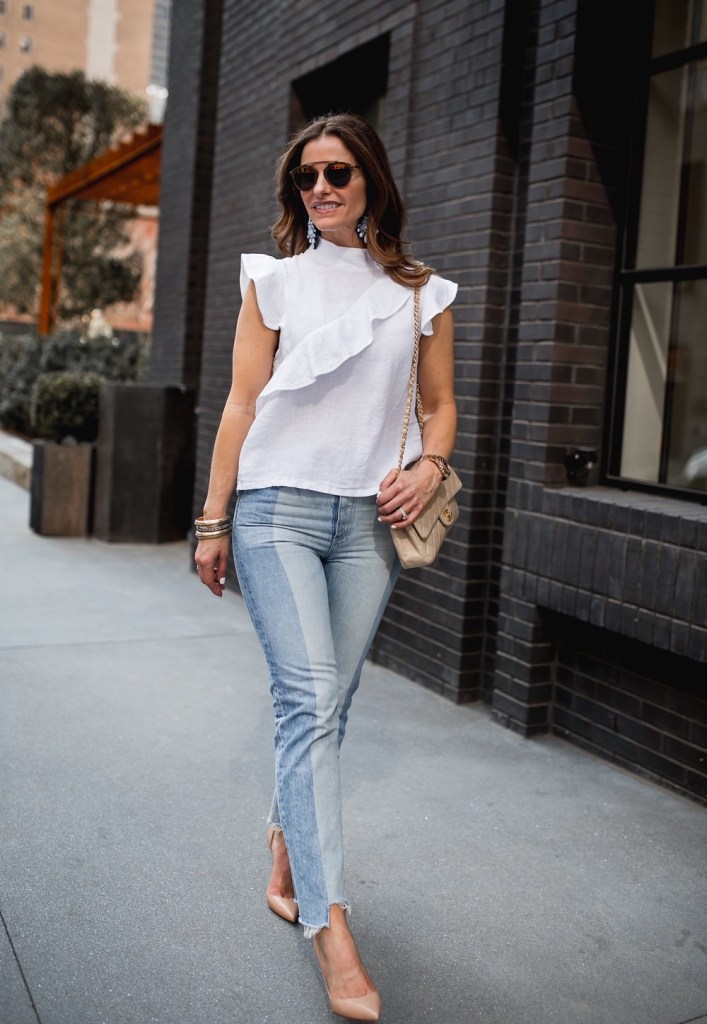 Ruffles: Spring's Hottest Trend + The Gucci Giveaway Continues//Dallas Style Blogger//The Street Edit// McGuire Denim White Blouse// AG Phoebe Frayed Hem Jean// Christian Louboutin Half d'Orsay Nude Pump// Nicola Bathie Jewelry// Harper Hallam// Chanel Classic Flap Bag