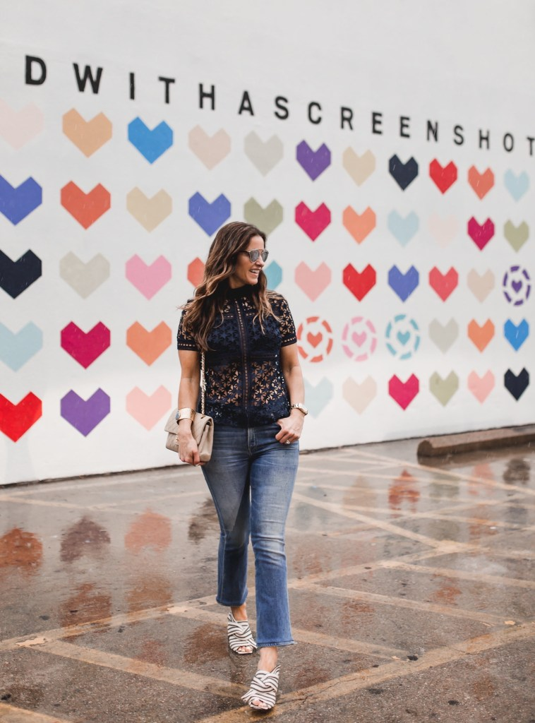 The @liketoknow.it #itstartedwithascreenshot Wall + A $1000 Nordstrom Giveaway// Dallas Fashion Blogger/ / Tiffany Davros// Self-Portrait Star Repeat Short-Sleeve Top// Fleetwood Crop Flare by Citizens of Humanity// Topshop Rome Fabric Knot Mules// Harper Hallam Jewelry// Chanel Classic Flap Bag