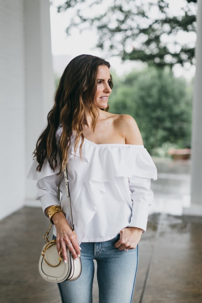 The Slimming Stripes 'Street Edit'// Dallas Style Blogger// The Street Edit// Mother Stunner Striped Fray Jeans// Clu White Blouse// Chloe Small Nile Leather Purse// Christian Louboutin Nude Pump// Nicola Bathie Jewelry// Harper Hallams Bracelet//