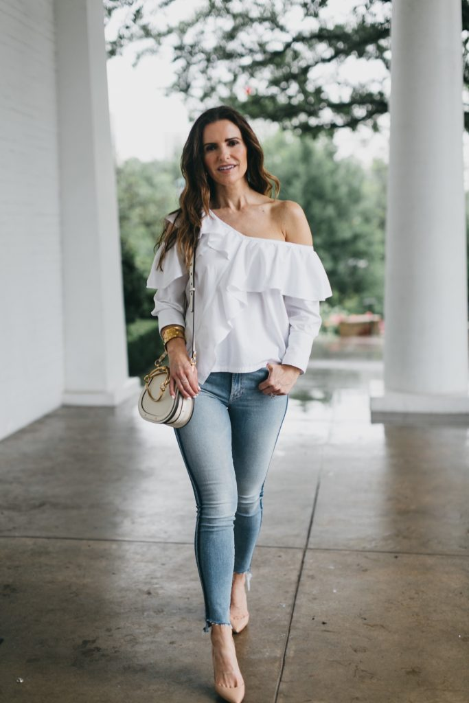 The Slimming Stripes 'Street Edit'// Dallas Style Blogger// The Street Edit// Mother Striped Fray Jean// Clu Ruffle White Blouse// Chloe Small Nile Bag// Christian Louboutin d'Orsay Nude Pump// Nicola Bathie Earrings// Harper Hallam Bracelets//