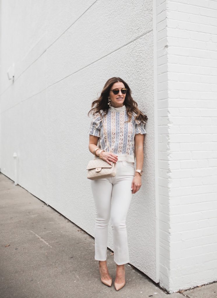 Memorial Days Sales Not To Miss// Dallas Style Blogger// Sea embroidered lace top// Mother Crop Jeans// Christian Louboutin Half d'Orsay Nude Pump// Chanel classic bag// Nicola Bathie Designs Earring// Harper Hallam Bracelet