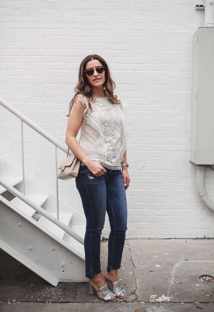 My Friends & Family Sale Picks// Dallas Fashion Blogger/ / Ted Baker Lace Ruffle Top// Frame Le Skinny de Jeanne Jean// Gucci Marmont Fringed Metallic Leather Mules// Chanel Classic Bag// Nicola Bathie Earrings