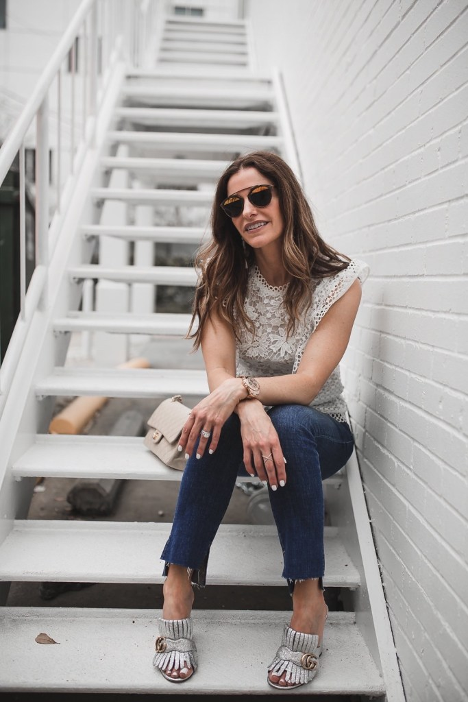 My Friends & Family Sale Picks// Dallas Fashion Blogger/ / Tiffany Davros// Ted Baker Lace Ruffle Top// Frame Le Skinny de Jeanne Jeans// Gucci Marmont Fringed Leather Mules// Chanel Classic Bag// Nicola Bathie Design Earrings//