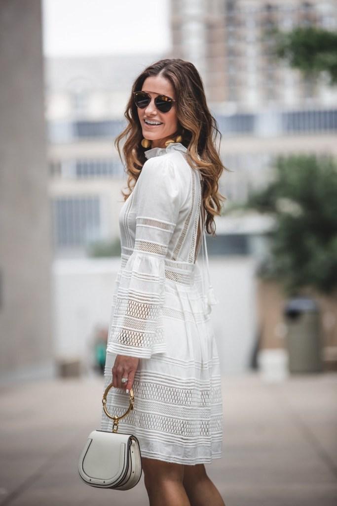 My RewardStyle Conference Looks// Dallas Fashion Blogger/ / Tiffany Davros// Sea Baja Lace Long Sleeve Dress// Marion Parke Alanis Platform Sandals// Rebecca de Ravenel bonbon earrings