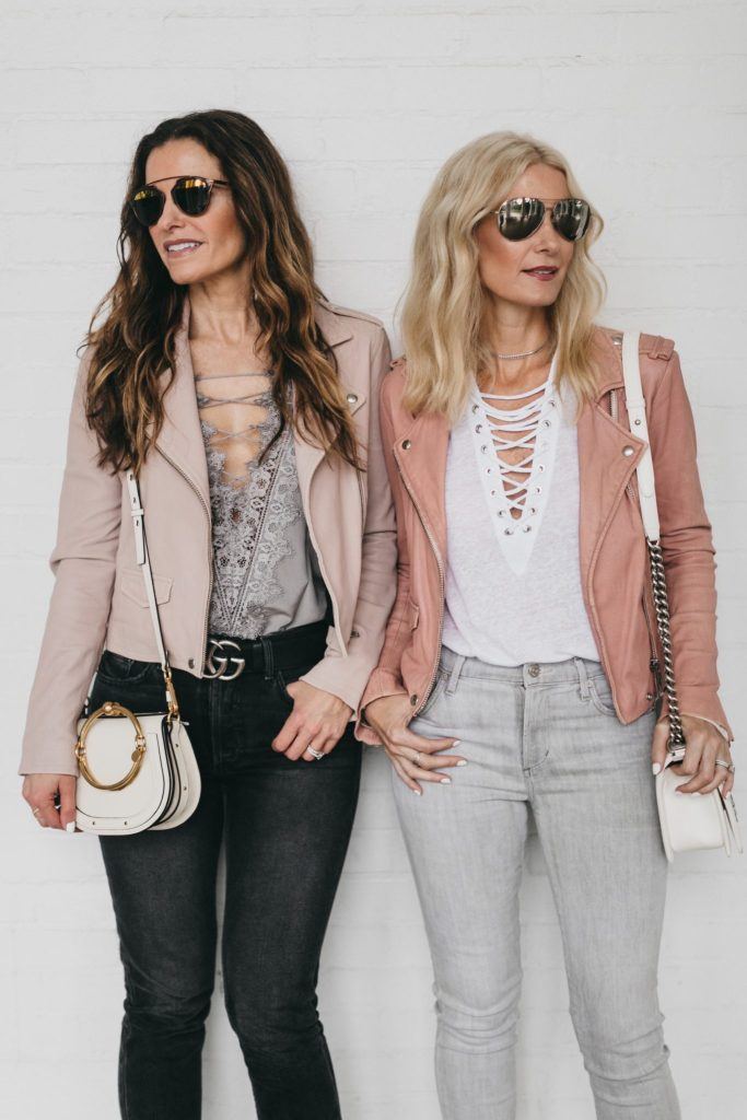 a nice leather jacket, a stylish lace-up top and a super ...
