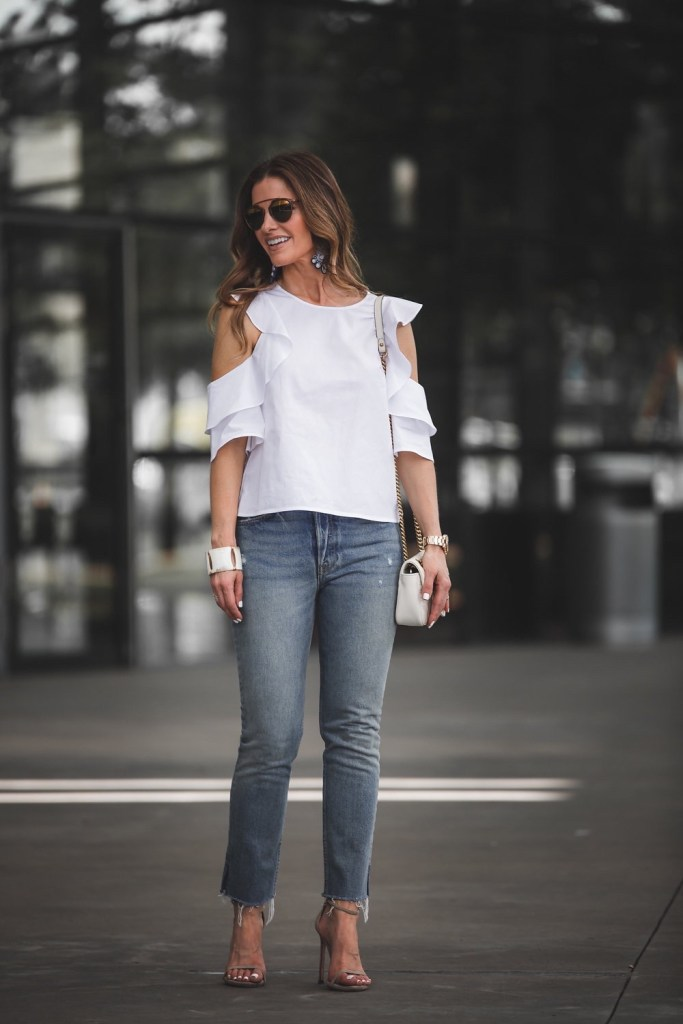 GRLFRND Denim 'Street Edit' With My Best Blogger Girlfriend// Dallas Style Blogger// Club Monaco White Ruffle Top// GRLFRND High-Rise Skinny Jean// Stuart Weitzman Nude Sandal// Gucci GG Shoulder Bag// Nicola Bathie Earring// Harper Hallam White Bracelet// Dior Sunglasses