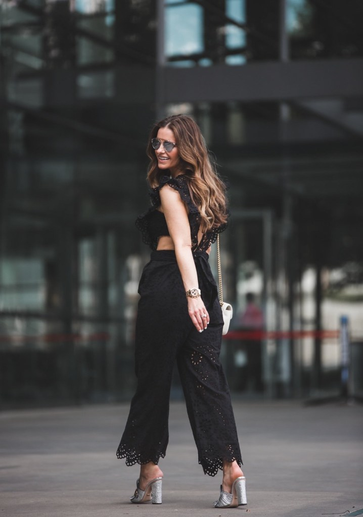 Nightcap Clothing Eyelet Cap Sleeve Jumpsuit// Gucci Marmont Fringed Metallic Leather Mules// Gucci GG Marmont shoulder bag// Dior Brow Bar Sunglasses//
