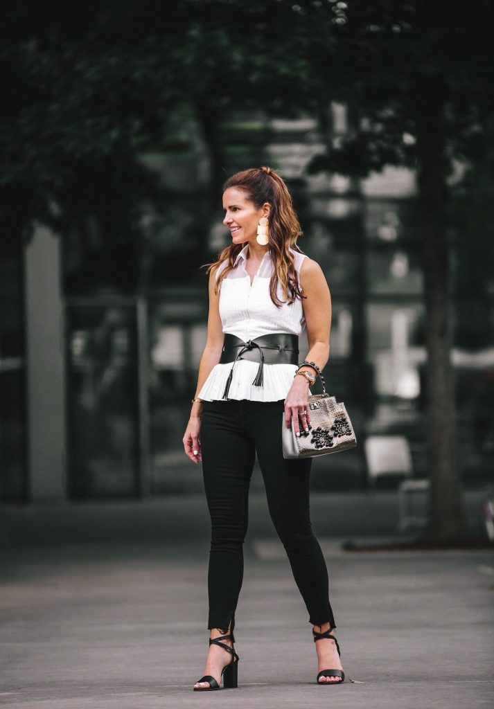 Anne Fontaine: Classics With An Edgy Elegance// Dallas Style Blogger// Anne Fontaine Caitlyn Top// Anne Fontaine The Feeling Belt// MARION PARKE Black Lisa Sandal// Frame Le Skinny Jean// Thale Blanc Emma Handbag// Annie Costello Brown Popova Earrings// Coordinates Collection Bracelet