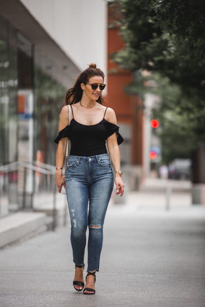 LPA Black Bodysuit | Mother Ankle Fray Ripped Jeans | Gucci Handbag | Dior Sunglasses | Marion Parke Black Sandals | Eddie Borgo Choker Necklace