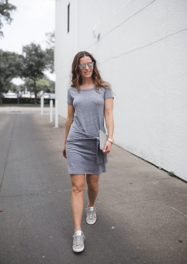 Tied Up & Totally Casual For Summer + Feature In D Magazine// Dallas Style Blogger// Nation Tie Front Tee Shirt Dress// Philippe Model Sneakers// tde Grey Clutch// Nicola Bathie Earrings// Dior So Real Sunglasses