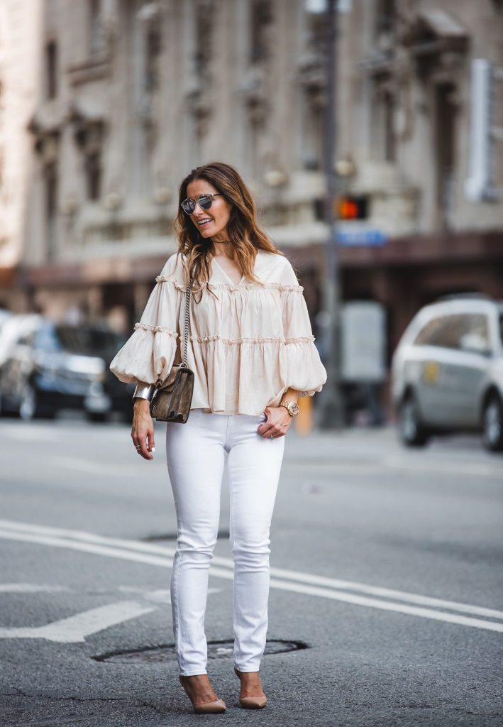 Moon River Ruffle Blouse || AG Stilt Jeans || Dior So Real Sunglasses || Gucci Dionysus Suede Shoulder Bag || Christian Louboutin Iriza Nude Pump ||