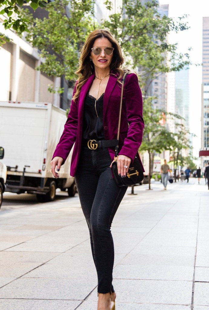 Theory Power Stretch Velvet Blazer || Cami NYC Racer Charmeuse Tank || AG The Farrah High Waist Ankle Skinny Jeans || Gucci Double G Buckle Belt || Parpala Marguax Necklace || Prada Mini Curved Leather Crossbody Bag || Dior So Real Round Brow Bar Sunglasses || Loeffler Randall Coco Knotted Velvet Slide Sandal
