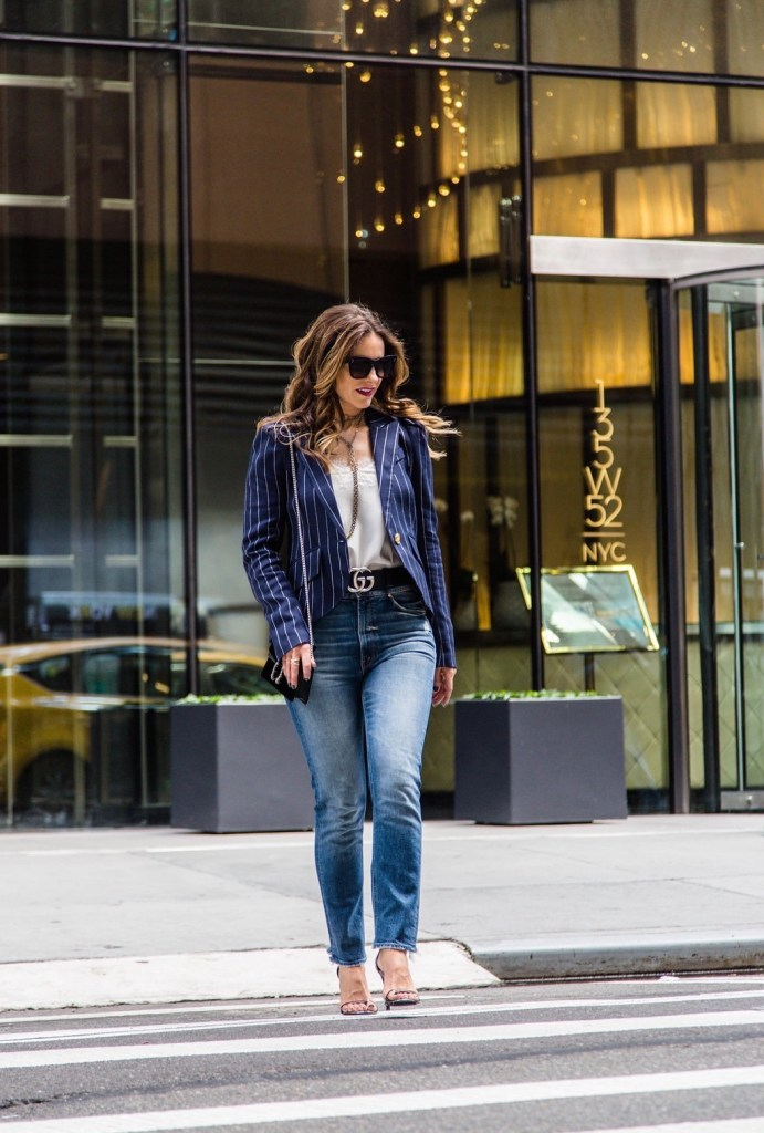 Smythe Pouf Sleeve Pinstriped Blazer// Cami NYC The Racer Cami// Gucci Velvet Mini Bag// Celine Catherine Cat-Eye Sunglasses// Gucci Double G Belt// Harper Hallam Necklace// LAGOS Enso Caviar Crossover Ring// Mother Dazzler Shift Jeans// Stuart Weitzman Nudistsong High Heel Sandals//
