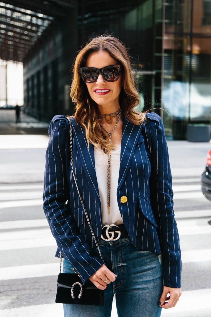 Smythe One Button Pinstriped Blazer// Cami NYC Racer Charmeuse Camisole// Gucci Dionysus Velvet Mini Bag// Celine Catherine Cat-Eye Sunglasses// Gucci Double G Belt// Harper Hallam Necklaces// LAGOS Enso Caviar Crossover Ring//