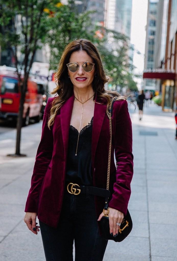 Theory Velvet Blazer || Cami NYC Racer Cami || Gucci Double G Belt || Parpala Necklace || Prada Mini Crossbody Bag || Dior So Real Brow Bar Sunglasses