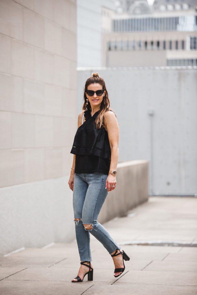 Ella Moss Ruffle V-Neck Top// GRLFRND Distressed Jean// Fendi Sunglasses// Marion Parke Black 'Lisa' Strap Sandals