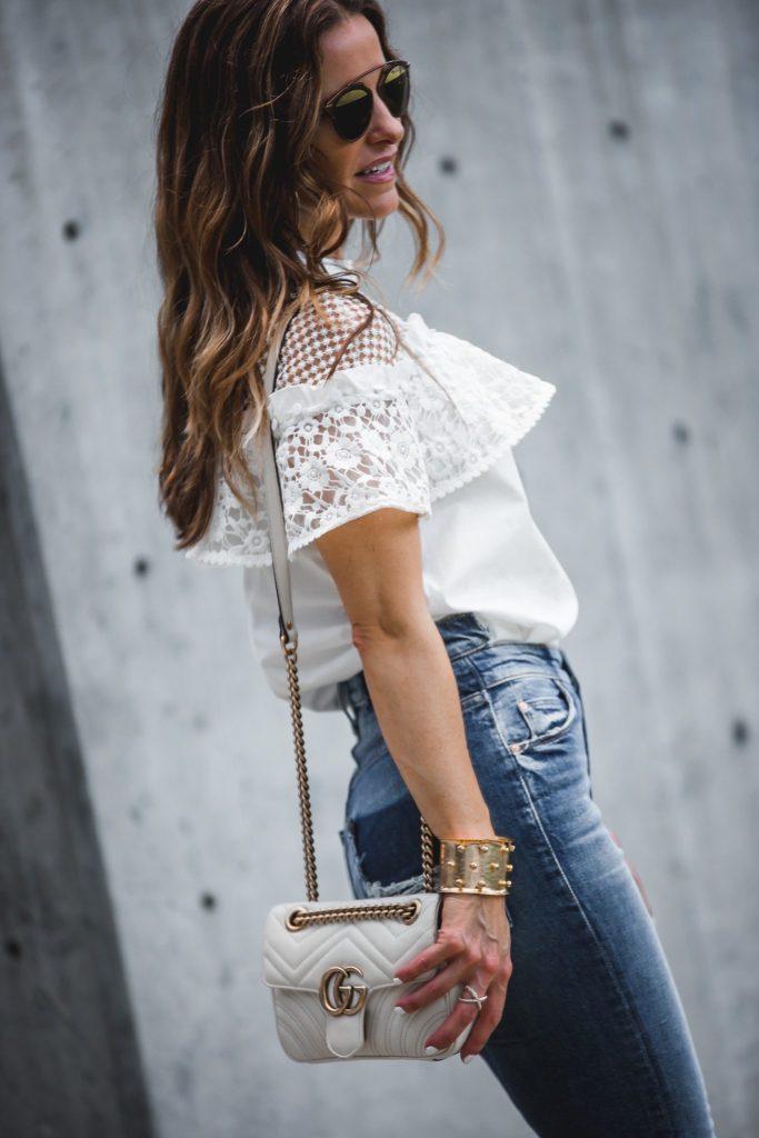 Mother Dazzler Shift Jean || Self-Portrait Hudson Dot-Mesh Poplin Top || Dior So Real Round Brow Bar Sunglasses || Gorjana Taner Extra Large Hoop Earrings || Gucci GG Marmont matelassé shoulder bag ||