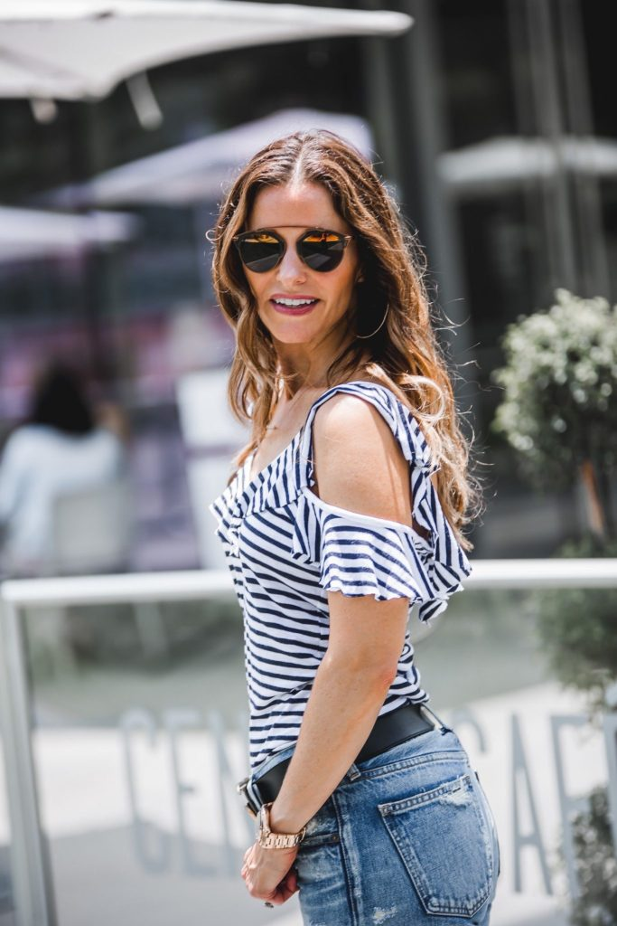 Splendid French Striped Cold-Shoulder Ruffled Top// MOUSSY MV Tapered Jeans// Gucci Double G Belt// Gorjana Taner Extra Large Hoop Earrings// Dior So Real Round Brow Bar Sunglasses//