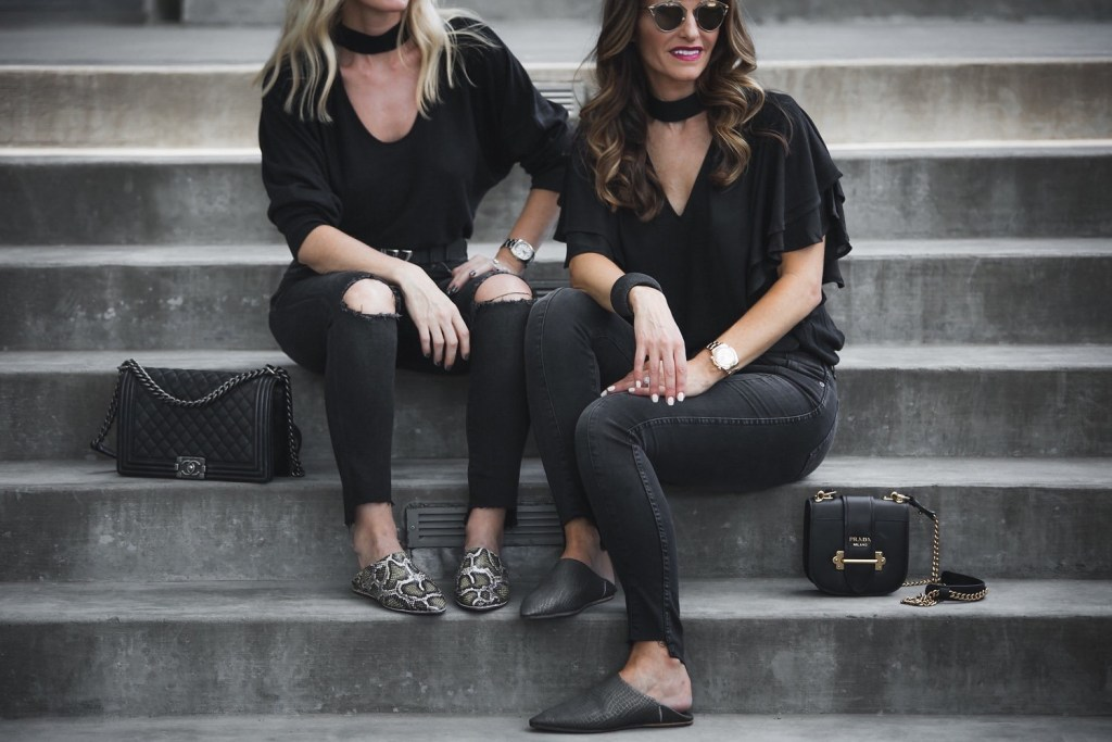 Leith Choker Ruffle Top// Dior So Real Brow Bar Sunglasses// Prada Mini Crossbody Bag// AG The Farrah High Waist Denim// MODERN + SOUL slides