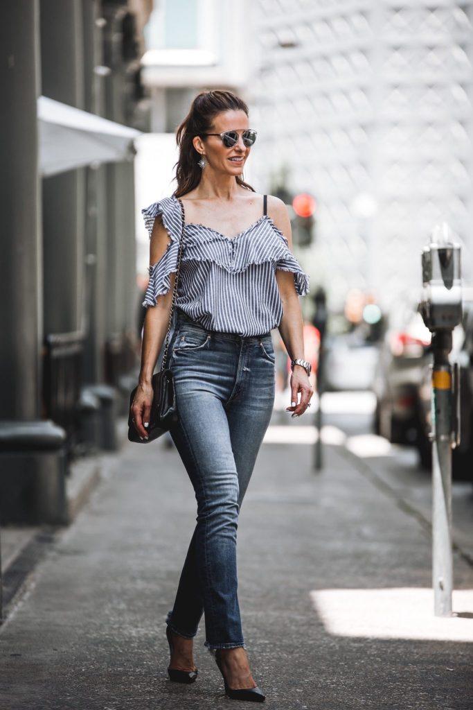 Sam & Lavi Bella Striped Top// Mother High Low Shift Jean// Dior So Real Brow Bar Sunglasses// Harper Hallam Earrings// Christian Louboutin Black Pumps//