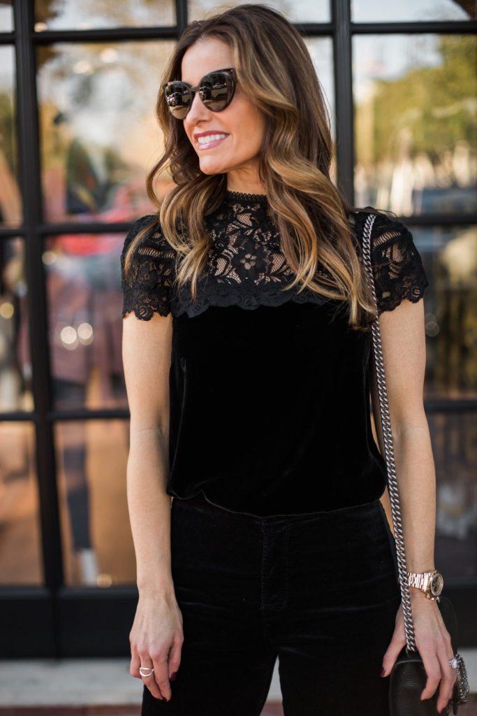 velvet & lace blouse