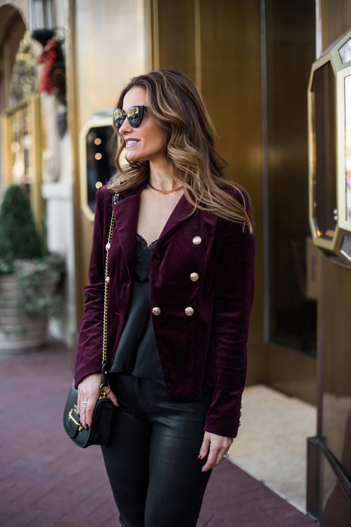 Red Velvet Double Breasted Blazer | Street Style Squad