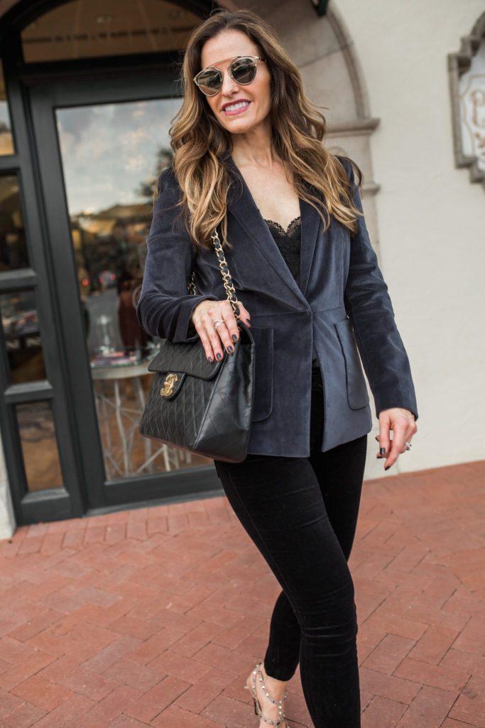 Grey Velvet Blazer | Street Style Squad
