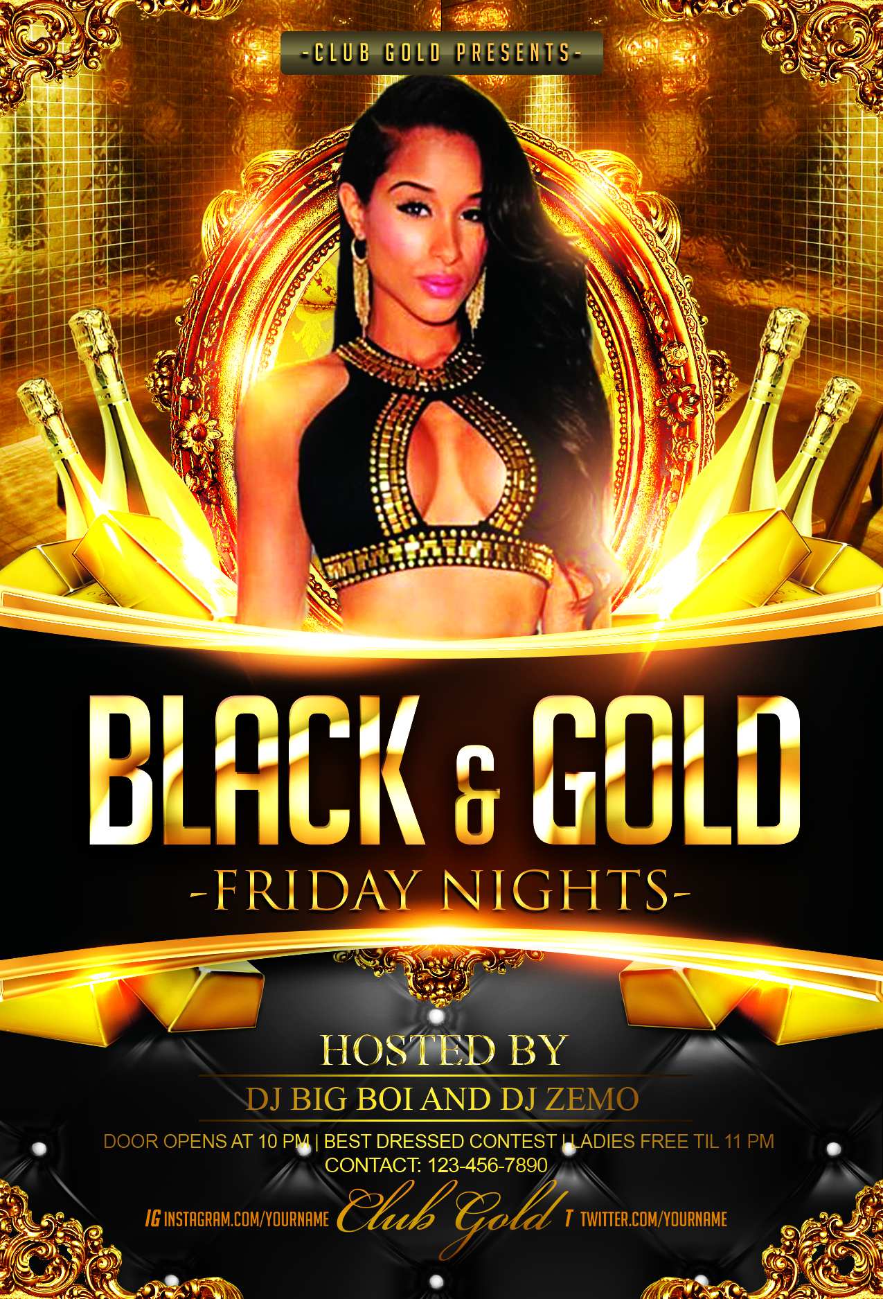 black and gold party flyer template streetz myestro beats