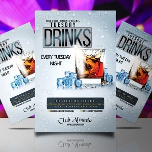 Tuesday Drinks Flyer Template