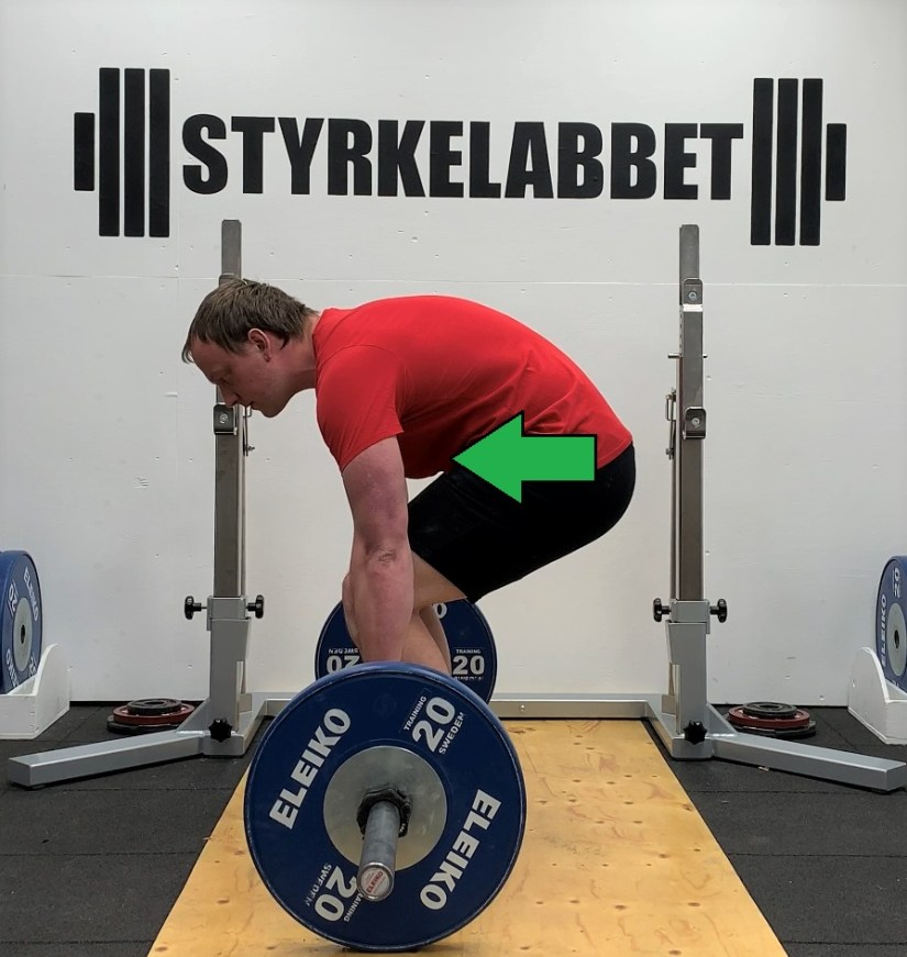 Rounded back means the hip is closer to the bar