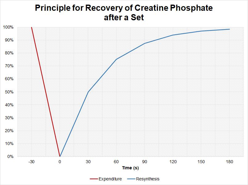Recovery of creatine phosphate between sets