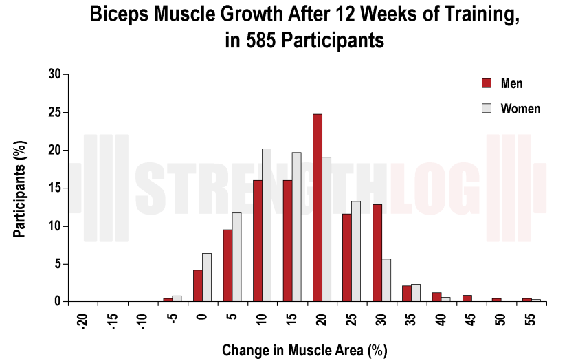 Biceps muscle growth rate