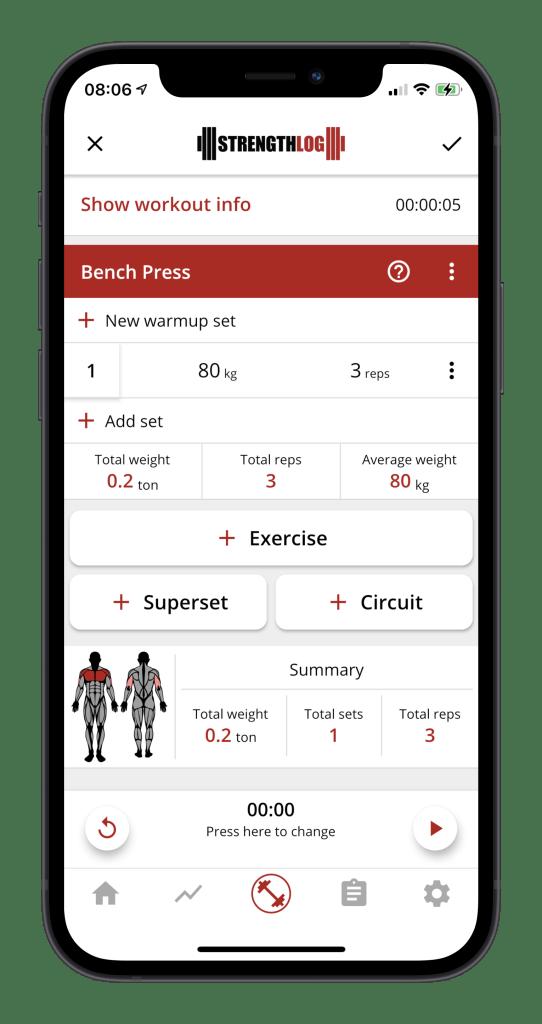 Bench press workout log