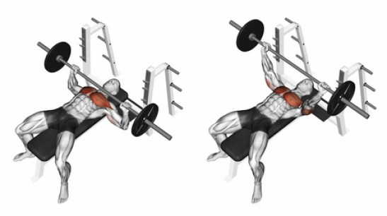 Wide grip elbows out bench press