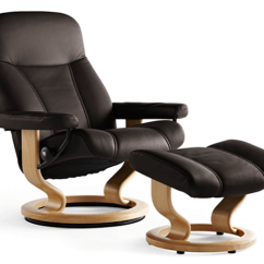 Recliner Vs Chair With Ottoman Bedroom Relaxing Stressless Consul Leather Chairs