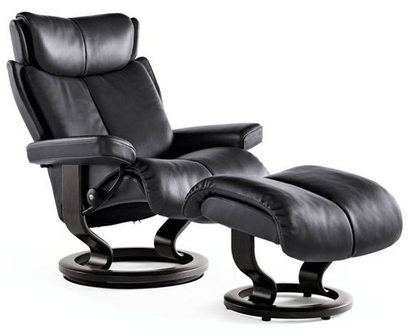 recliner chair with ottoman manufacturers ivory lace covers stressless magic leather chairs