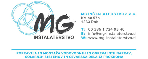 MG inšalaterstvo d.o.o., Krtina 57B, Dob