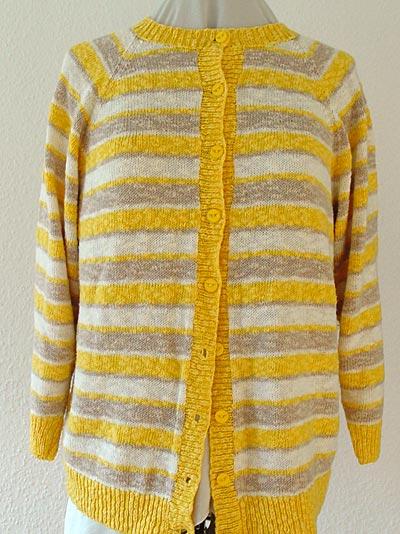 gelbgeringelte Raglanjacke aus Baumwoll-Flammégarn