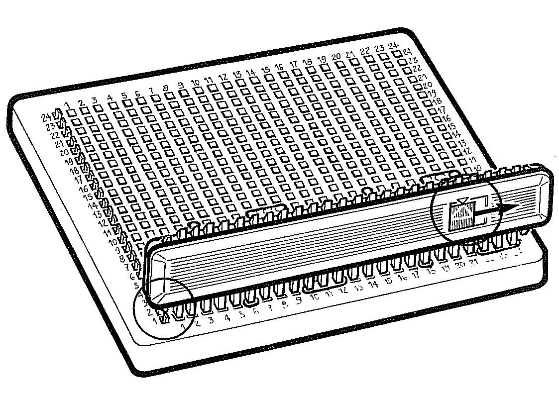 Schlitten und Abstreifer für das Stricken von Mustern