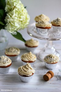 Vanilla Bean Cupcakes with Champagne Buttercream via StrictlyDelicious