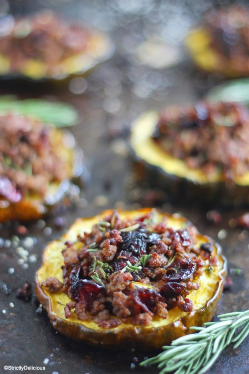 Cranberry & Beef Stuffed Acorn Squash via StrictlyDelicious