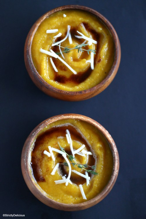 Pumpkin Soup with Thyme, Browned Butter, and Parmesan | StrictlyDelicious.com