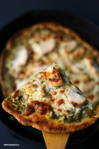 Grilled Chicken Pesto Pizza (grain-free, egg-free, nut-free, nightshade-free) | StrictlyDelicious.com