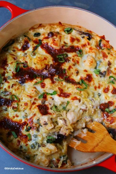 Healthy Mediterranean Chicken Spaghetti Squash Bake | StrictlyDelicious.com